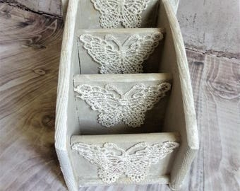 Romantic and shabby vintage office storage