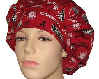 Bouffant Scrub Hat-University Of Alabama Crimson Tide New Fabric-ScrubHeads-Scrub Hats For Women-Scrub Cap-Crimson Tide Scrub Hat-Bama
