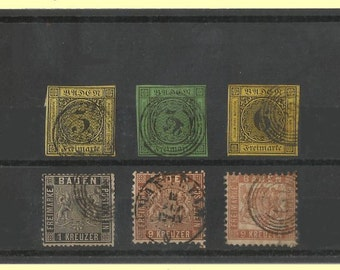 Baden 1850s-60s Used Stamps - High 157.50 CV Lot - G-VG - #2, 7, 9, 10, 17 & 23