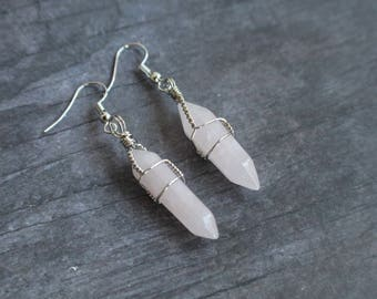 Wire Wrapped Rose Quartz Earrings, Silver wire, Gift