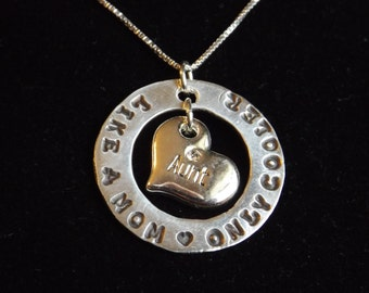 Cool Aunt necklace, Like a mom only cooler necklace, Gift for new Aunt, Aunt jewelry, Auntie necklace, Aunt from niece necklace