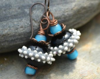 Fun Black and White Lampwork Glass, Turquoise Glass and Copper Earrings