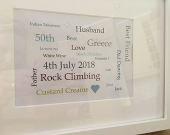 special birthday personalised Frame  - Perfect gift for a milestone birthday. Made to order.