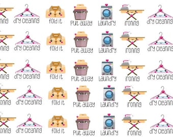 laundry, dry cleaning, and ironing planner stickers