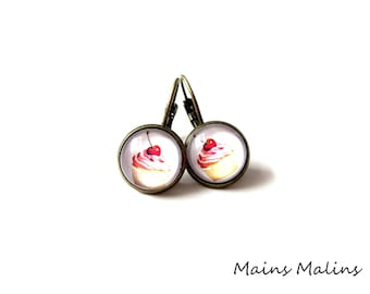 Earrings bronze earrings cherry cupcake