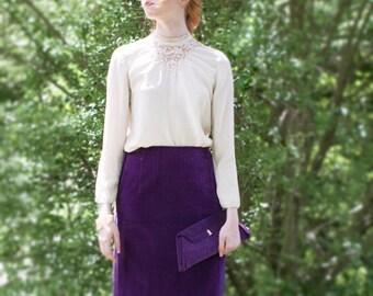 Purple Velvet  Maxi Skirt // Formal Fishtail. SM 30 inch Waist. // 60s Deep Plum. Long, Full length. // Vintage Womens Cocktail Clothing.