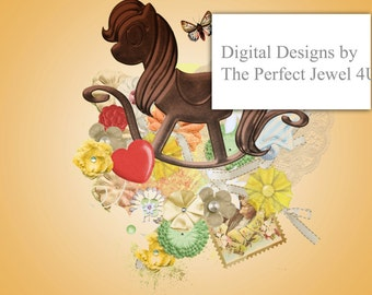 Printable 8X10 Picture Rocking Horse Digital Download