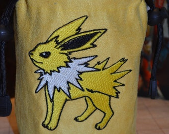 Dice Bag Pokemon Jolteon Embroidered suede