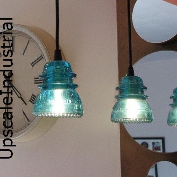 Pendant Light/Glass Insulator/Kitchen  Island/Lighting /Pendant Lighting/Pendant Lights/Industrial Lighting/Steampunk/Aquamarine/vintage