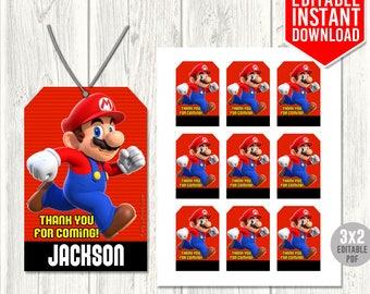 Super Mario Thank You Tags, Super Mario Tags, Super Mario Favor Tag, Mario Run Printables, Super Mario Birthday Party, Editable PDF Download