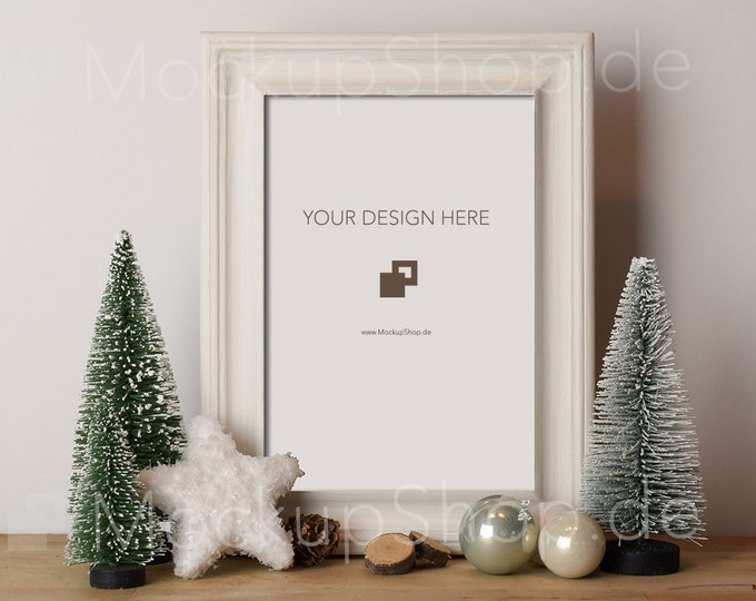 CHRISTMAS MOCK UP frame white / Christmas Trees with start and pinecone / Merry Christmas Mock up / Merry Xmas Frame Mock up