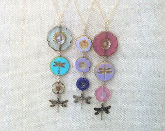 Graduated Glass Flowers and Dragonflies Pendant on Goldfilled Chain - Choice of Color
