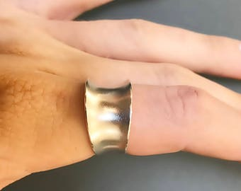 Sterling Silver Wide Band Ring- 12mm with Anticlastic Bend