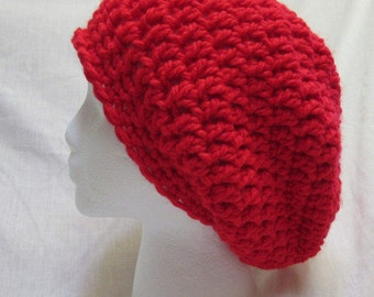 Red Slouchy Hat Oversize Big Cap Beanie Trending Dreadlocks Chunky Thick Yarn Bohemian Easter Springtime Crochet knit Handmade Large New