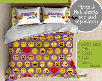 Emoji Custom Comforter/Duvet - Teens Comforter - Teens Duvet - Customized Teens Bedding - Teens Pillowcase - Emoticons Bedroom Decor