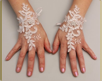 Wedding Gloves, White Gloves, Pearls Gloves, Lace Gloves , Bridal Gloves, Party Gloves,  Formal Gloves, Evening Gloves