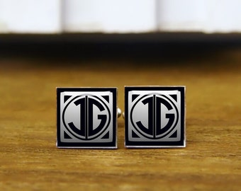 custom monogrammed initial cufflinks, custom initial cufflinks, tie clip, wedding cuff links, custom cufflinks, personalized cufflinks