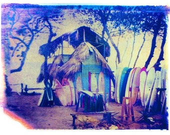 "Gift for Surfer Polaroid Transfer of ""Surf Hut""  Tropical Decor 11x14 image matted in 16x20-signed"
