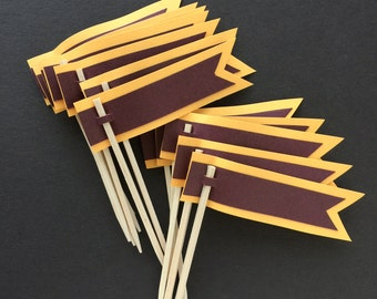 Harry Potter Cupcake Toppers harry potter birthday theme harry potter cupcake flags Gyriffindor cupcake flags