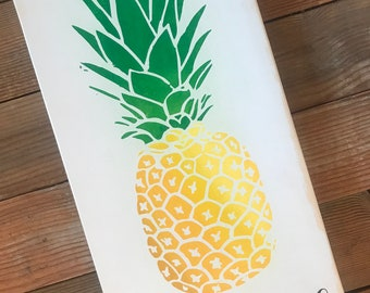"""Pineapple-Pineapple Welcome-Welcome Sign-Housewarming-Gift-7.25x15"""""""