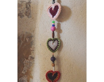"During ""sweet heart boho"" three hearts in crochet"