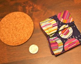 purple blue wallet billfold womens with strap polka dot pocket