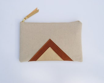 Linen clutch, linen and leather clutch, perfect Christmas gift, gift for her, Gold leather clutch, one of a kind