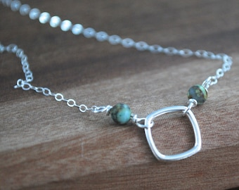 Minimalist silver square + turquoise Sterling silver necklace Layering necklace delicate gemstone necklace Turquoise 925 simple necklace