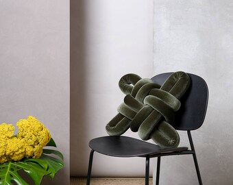 Olive Green Velvet Knot pillow , Knot Pillows, knot cushions,  velvet modern pillow, nursery decor, velvet cushion, knot throw pillow