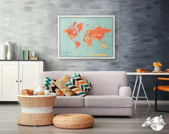 World map art / Wall map / Travel map pin board / gift for travelers / Large world map with pins / travel gift