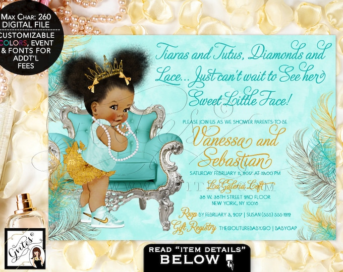 Turquoise & Gold Princess Baby Shower Invitation, Vintage Baby Girl, African American Invitations, Gold Pink 7x5 Afro Puffs. Gvites