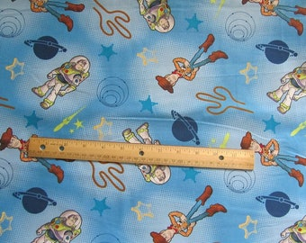 Blue Dot Toy Story Buzz and Woody Cotton Fabric by the Yard