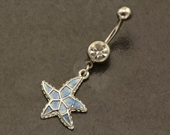 Starfish Belly Button Ring. Summer Dangle Belly Ring. Beach Blue Belly Piercing. Bohemian Belly Bar. Boho Navel Ring. Hippie Body Jewellery.