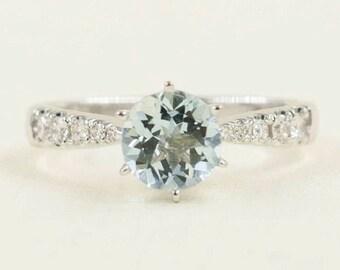 Aquamarine Diamond Engagement Ring.Diamond Ring.Natural Aquamarine AAA+.Aquamarine Diamond Ring.14k White Gold. Simple Engagement Ring