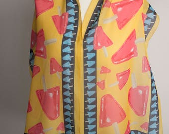 """vintage long scarf, rectangle scarf, polyester scarf, women scarf 34x152cm / 15x60"""" ice cream scarf sheer scarf popsicle yellow red"""