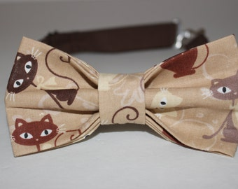 Pre Tied Brown Cats Bowtie / Bow Tie -- FREE SHIPPING!!*