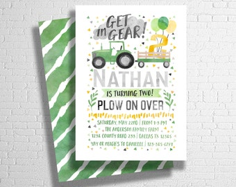 Tractor Birthday Invitation | Get In Gear! | Green & Yellow Tractor Invitation | DIGITAL FILE ONLY