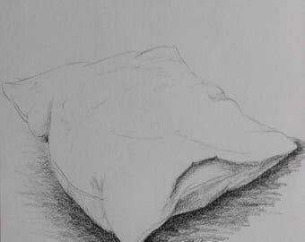 Pillow - fine art still life pencil drawing