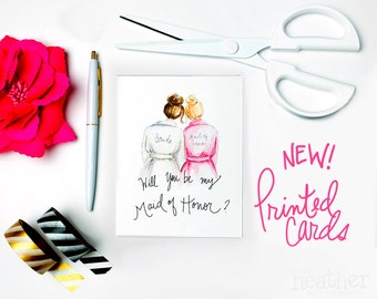 NEW-PRINTED Maid of Honor card-Will you be my Maid of Honor? Card, Brunette Bride, Blonde Maid of Honor, Maid of Honor Proposal