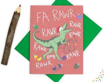 Funny Christmas Card, Dinosaur Christmas Card, Fa Rawr Rawr Rawr Rawr, Funny T Rex Christmas, Cute Holiday Card, Dinosaur Card, Rawr Xmas