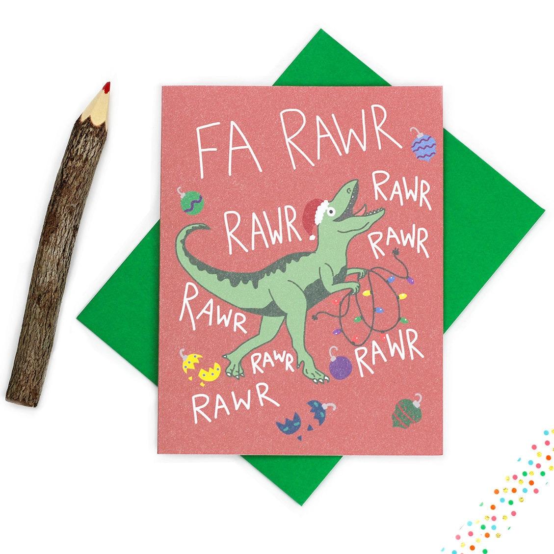 Funny christmas card dinosaur christmas card fa rawr rawr zoom kristyandbryce Images