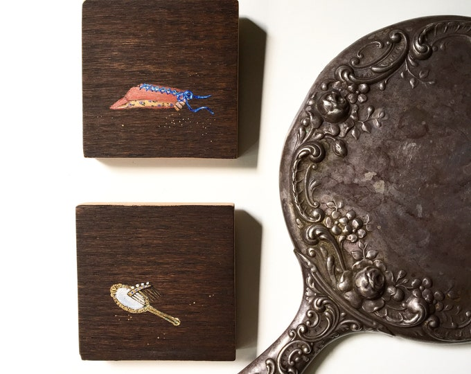 Snow Drop Series / Snare + Vanity / two original tiny acrylic paintings / still life art / fairytale art / corset, comb + mirror art