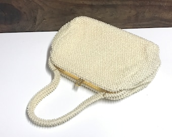 Vintage Ivory Corde Bead Purse by Lumured, Petite Bead Ivory Handbag, Vintage Wedding Purse, Vintage Beaded Top Handle Purse