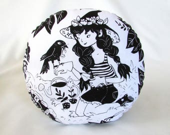 Gardening Witch Screen Print. Round Accent Pillow. Crow Familiar. Black and White Print. 12x12 inches. Ready to ship.