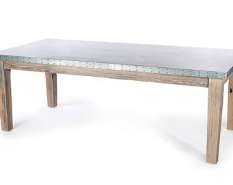 Cambridge Dining Table - Zinc Top Dining Table - Zinc dining table