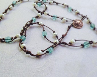Long Knotted Bead Necklace