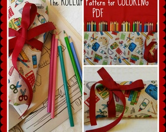 Pencil Roll PDF Pattern Rollup for Coloring Pencil Holder, Storage, Colored Pencil Roll Up Organizer, Pencils, Colored Pencil Roll