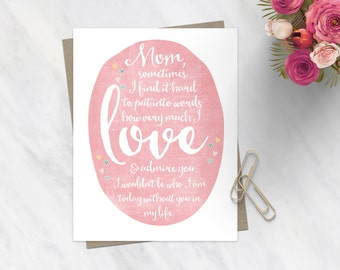 Sweet Mother's Day Card / Heartfelt Mothers Day Card / For Mom / Stepmom Card / Love Admire Mothers Day Card / Pink Hearts / Calligraphy