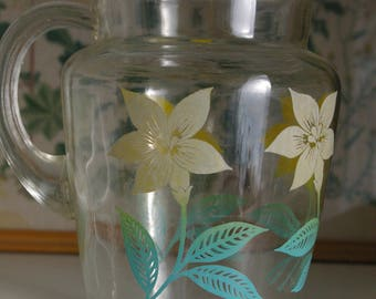 Large Glass Pitcher with Yellow Flowers