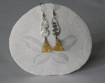 Yellow Recycled Glass Earrings with Signature Silver Spirals